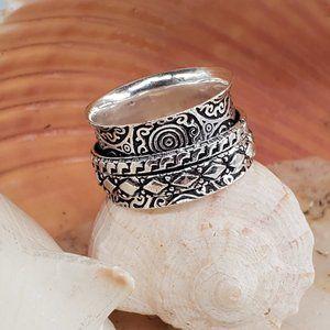 Plane Bohemian Spinner Silver Ring